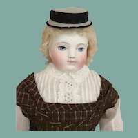 Small grey felt boater hat for French fashion doll