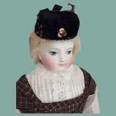 Charming black velvet hat for French fashion doll