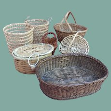 Collection of small antique and vintage baskets