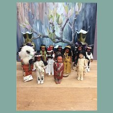 Collection of small Indian dolls