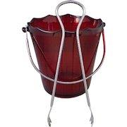 Cambridge Ruby Glass Ice Bucket with Tongs