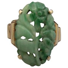 14K Gold Hand Carved Jade Ring