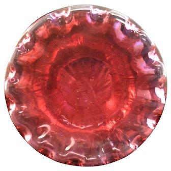 "Fenton Cranberry 10"" Vase with Original Sticker"