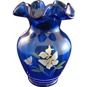 "Fenton Royal Blue Hand Painted/Artist Signed 5""  Vase"