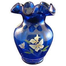 "Fenton Royal Blue Hand Painted/Artist Signed 5""  Vase"