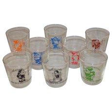 "Vintage 1938 Bosco Milk ""Snow White & the 7 Dwarfs"" Giveaway Glasses in Original Box!"