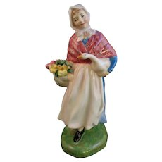 "Royal Doulton ""Market Day"" Girl w/Flowers & Goose"