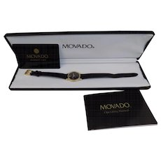 "Ladies ""Movado"" Museum Watch in Box with Operating Manual / Marshall Fields Warranty Card"