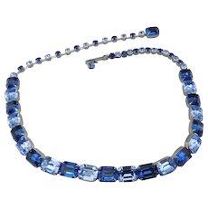 Weiss Blue Rhinestone Choker Necklace