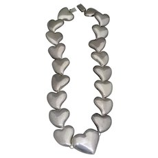 Vintage Mexican Sterling Silver Heart Shaped Necklace
