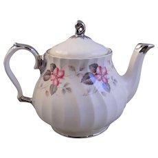 Sadler England Hand Painted Silver Trimmed Teapot & Lid