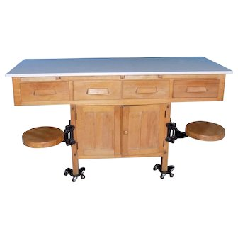 Vintage School Science Laboratory Table with Swing Out seats