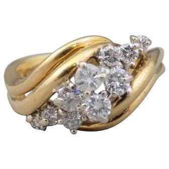 18 KT Gold Ladies Diamond Waterfall Cluster Ring