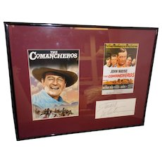 """Framed Lobby Cards of """"The Comancheros"""" with Autograph of co-star """"Stuart Whitman"""" with COA"""