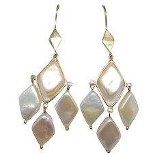 Lucas Lameth Gold Overlay Sterling Silver Diamond-Shape Pearl Chandelier Earrings