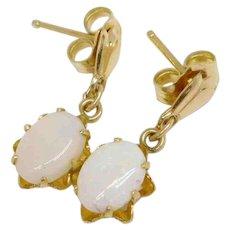 ** LAST CALL** Vintage 14K Gold Opal Cabochon Dangle Earrings.