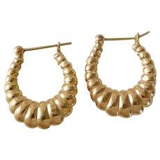 Classic 14K Yellow Gold Scalloped Hoop Earrings