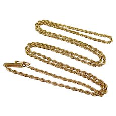 "Vintage 14K Solid Gold Twisted Rope Chain 18.5"" Necklace"