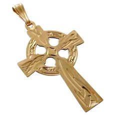 Vintage 9K Solid Gold Engraved Celtic Cross Pendant from Ireland