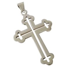 Vintage Taxco Sterling Silver Budded Cross Pendant