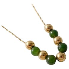 Vintage 14K Solid Gold 5mm Jade & Gold Add-a-Bead Necklace