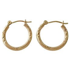 Vintage 14K Gold Laser Cut Hoop Earrings
