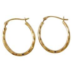 Vintage 14K Gold Israel Oval Hoop Earrings