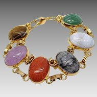 Vintage Carved Natural Stone Scarab Bracelet, w/ Amethyst, Tiger's Eye, Onyx