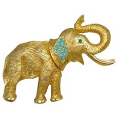 Vintage DeNicola Gold Plated Turquoise-Color Cabochon Elephant Brooch