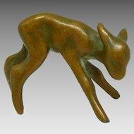 Vintage Miniature Art Deco Bronze-Finish Metal Fawn Statuette, Baby Deer Figurine
