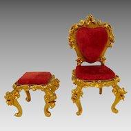 Vintage Szalasi Spielwaren Rococo Gold & Red Velvet Dollhouse Chair & Footstool