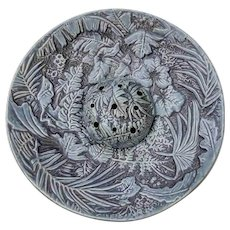 "Rare Vintage Weller Marvo Blue Glaze 15.5"" Console Bowl w Frog Insert"