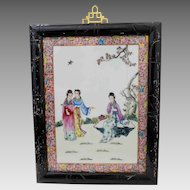 20th C. Framed Famille Rose Chinese Enamel Porcelain Plaque, Court Ladies with Scrolls