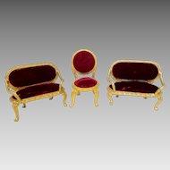 Vintage Gold Gilt Red Velvet Dollhouse Parlor Sofa & Chair Set
