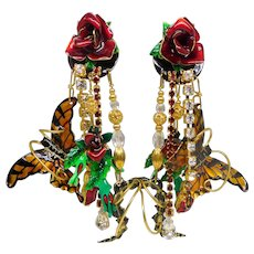 Vintage Lunch at the Ritz Vault Rose Garden Butterfly Clip-on Earrings