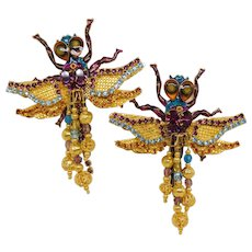 Vintage Lunch at the Ritz Vault Dragonflies Dragonfly Clip-on Earrings