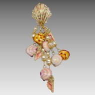 Vintage Lunch at the Ritz Crystal She Sells Seashells Pearl Shell Cascade Brooch