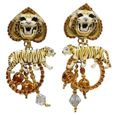 Vintage Lunch at the Ritz White Tiger Loops Earrings