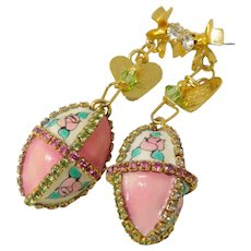 Vintage Lunch at the Ritz Vault Crystal Easter Egg Earrings
