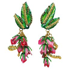 Vintage Lunch at the Ritz One Dozen Roses Crystal Earrings