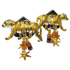 Vintage Lunch at the Ritz Tiger Tempura Crystal Earrings