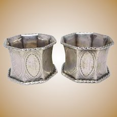 Pair of Antique Victorian Hand Chased Sterling Silver Napkin Rings