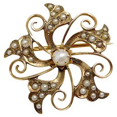 Antique Victorian 10K Rose Gold Seed Pearl Flower Brooch