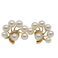 Vintage 14K Gold 6mm Akoya Pearl Earrings