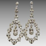 Antique 800 & Sterling Silver Diamond-Paste Chandelier Earrings
