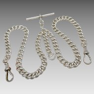 Antique Sterling Silver Victorian Double Albert Pocket Watch Chain, London 1867