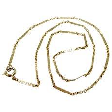 "Vintage 14K Gold Rolo Bar Link Chain 15"" Necklace"