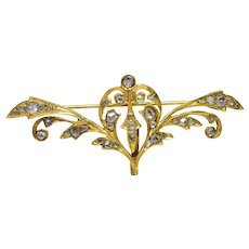 Antique Georgian 18K Solid Gold Rose Cut Diamond Watch Fob Hanger Brooch
