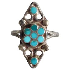 Vintage Sterling Silver Southwest Ring w Turquoise Flower, Size 7