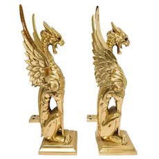 Impressive Vintage Machine Age Brass Solid Griffin Andirons